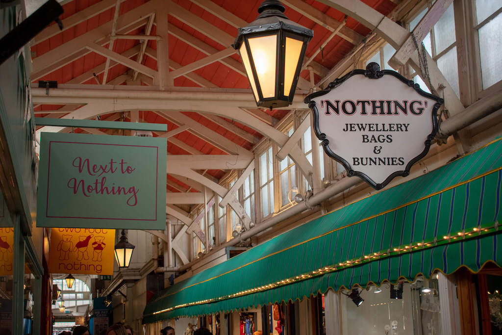 Shop signs for Nothing and Next to Nothing at Oxford Covered Market
