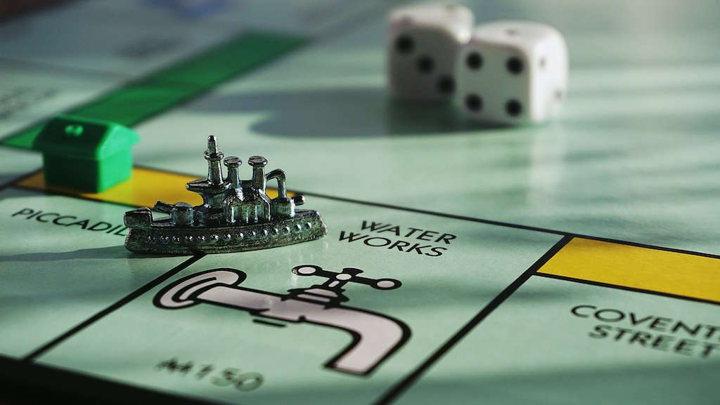 Monopoly board at game night, at home date ideas