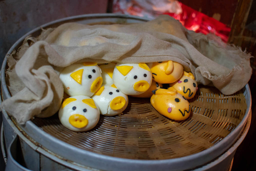 Chinese buns with animal faces