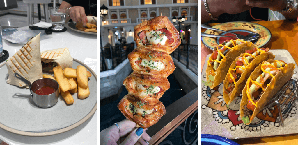 A wrap with chips, a cheese and bacon pastry and mexican tacos, all in China