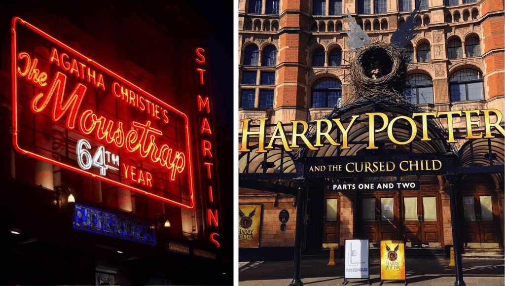 London West End Theatre, signs for MouseTrap and Harry Potter