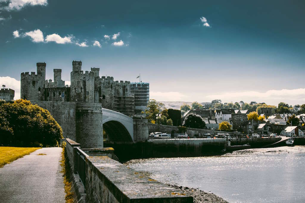 Castle and town in Wales UK