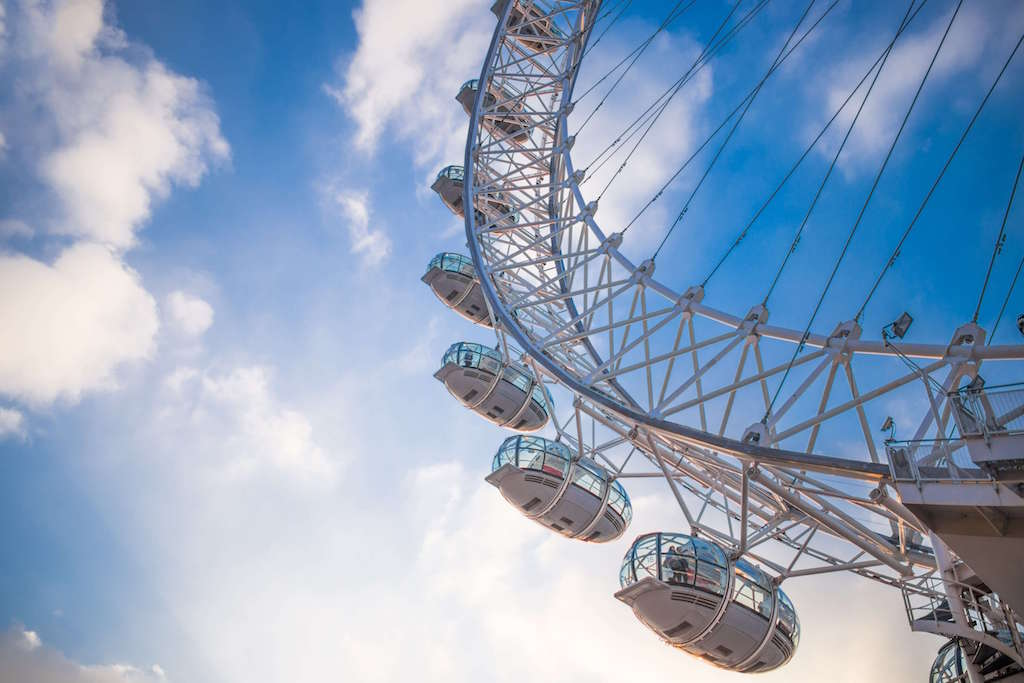 London Eye with blue sky