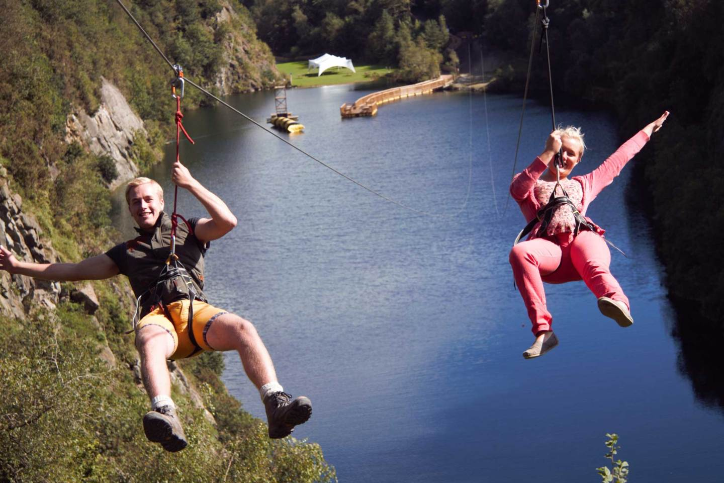 Zip Line over a lake at the adrenalin quarry in Cornwall
