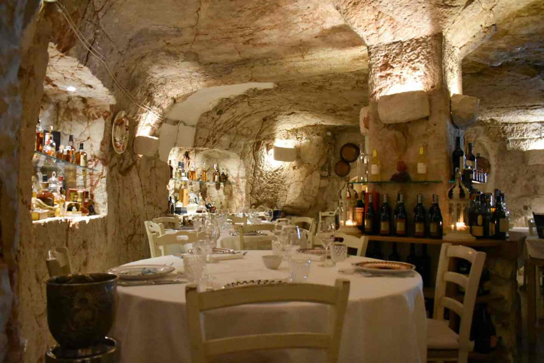 Cave restaurant in Ostuni Puglia