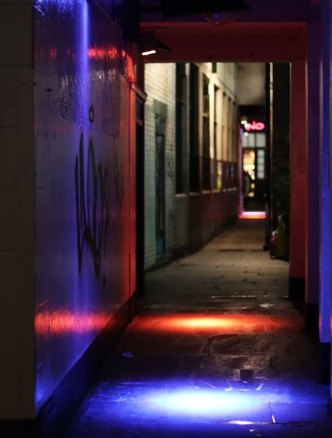 Dark alleyway in Soho at night