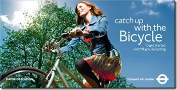 Bicycle advertising campaign showing female cyclist enjoying the great outdoors