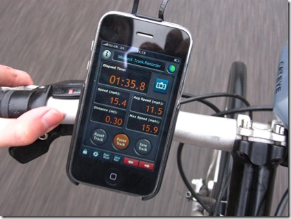 Bicio iPhone bike mount during cycling showing speed