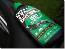 finish line wet lubricant on saddle