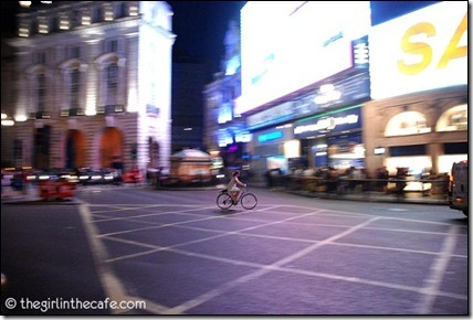 London cyclist at night