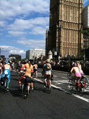London naked bike ride big ben