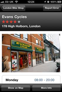 London Bike shop showing a listing