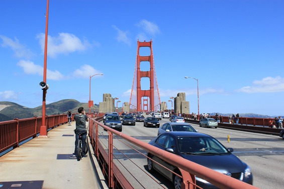 On the golden gate bridge in San Francisco