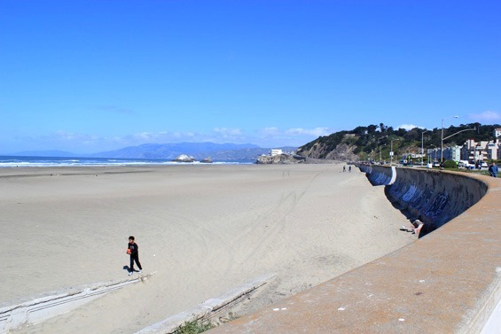 Reaching the white sandy beach at the end of Golden Gate Park