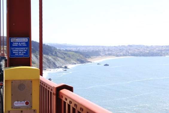 There is hope emergency councelling box on the Golden Gate Bridge with a view of the sea where we originally pedalled from
