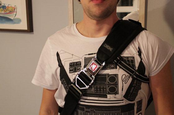 Chrome Buran bag on my shoulders