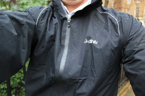 A front view of the DHB minima jacket as worn by me