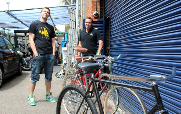 Adam and Kris outside Cloud 9 Cycles