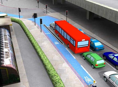 Bow Roundabout showing TfL visualisation with blue lanes ahead of the main traffic and with separate traffic lights