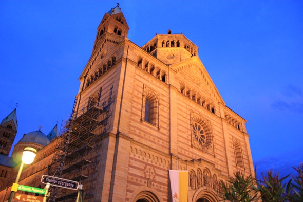 Cathedral in Speyer Germany during the night