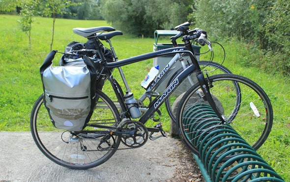 Overboard panniers at the border of Germany and France