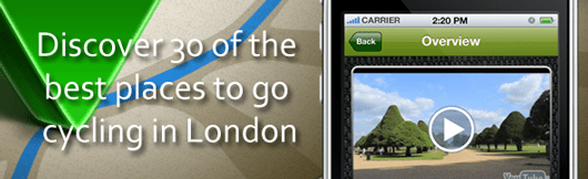 Discover 30 of the best places to go cycling in London with the London Bike Rides iPhone app