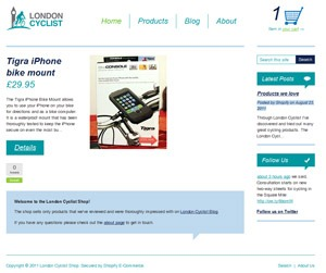 London Cyclist shop screenshot