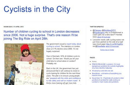 Screenshot of the Cyclists in the City blog