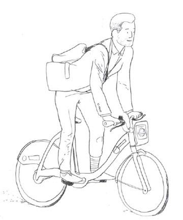 London Cyclist Handbook Preview - Hand drawing of Boris Biker