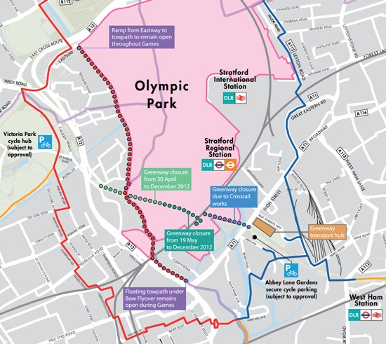 Cycling to the Olympics map