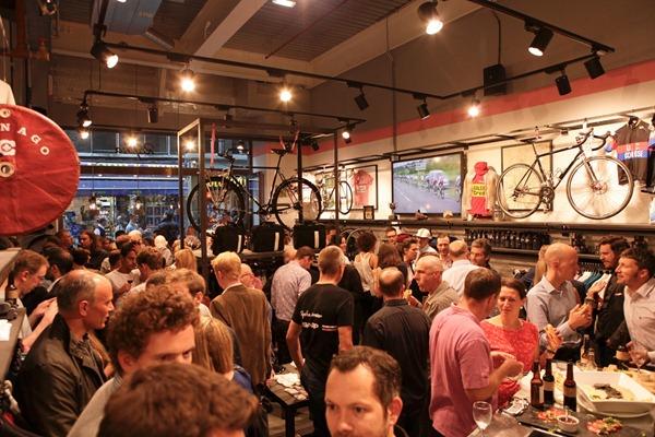 Rapha cycle cafe opening night