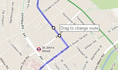 Changing route on Google Maps