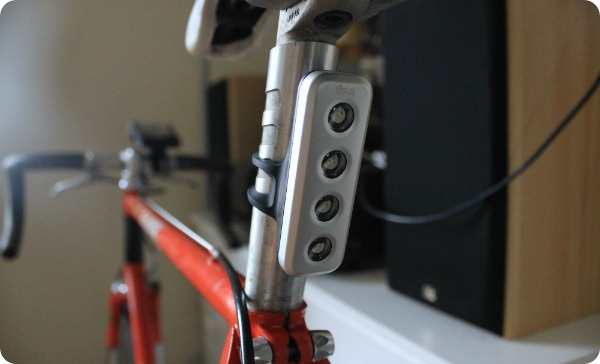 Knog Blinder 4V shown on rear of bike