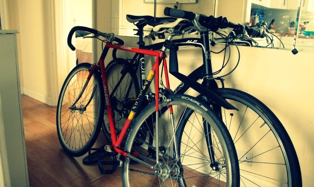 Bikes stored in the hallway