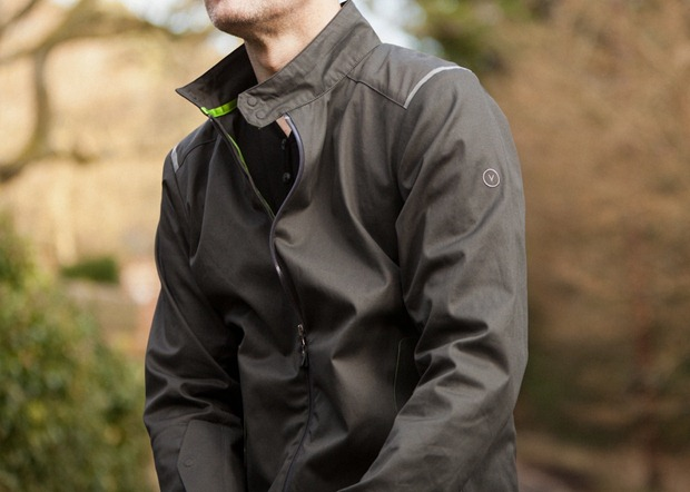 A picture of a cyclist wearing a Vulpine cycling jacket