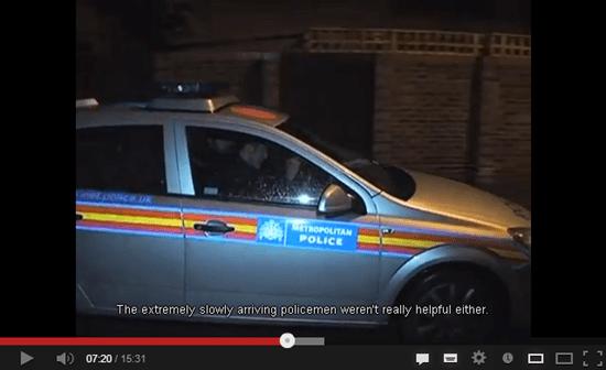 A met police car arrives on location