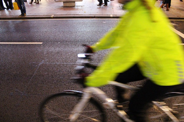 Cyclist zooms past