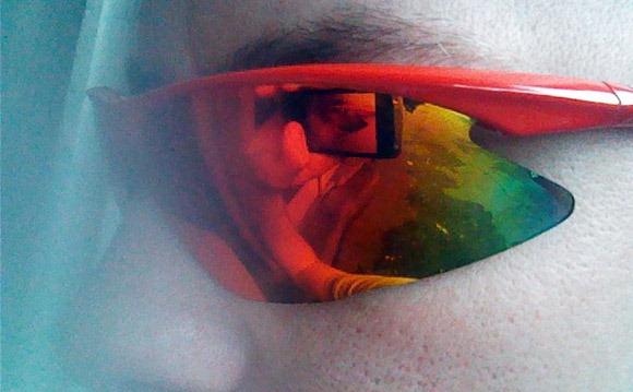 DHB Pro Tripple lens sunglasses seen on face