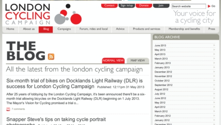 London Cycling Campaign Blog Screenshot