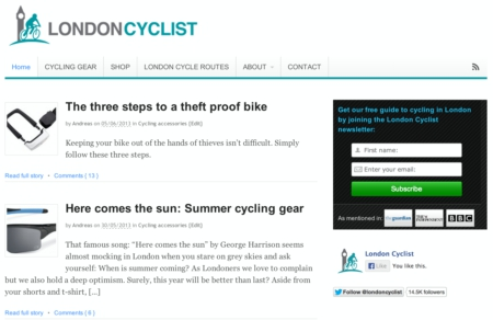 Screenshot of London Cyclist Blog