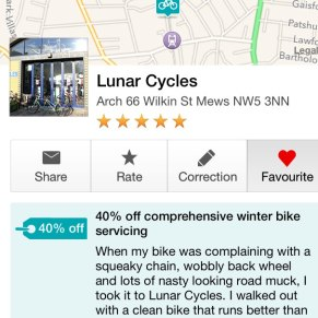 Screenshot from the London Cyclist app showing a discount at a local bike shop