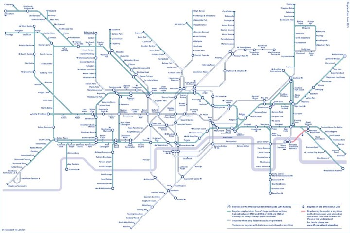 TfL maintains a clear cyclists' tube map, but you won't see it at any stations - Image from TfL