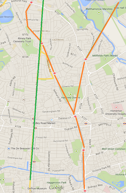 The A10, highlighted in Green, and the soon-to-be Overground line, in Orange - from Google Maps