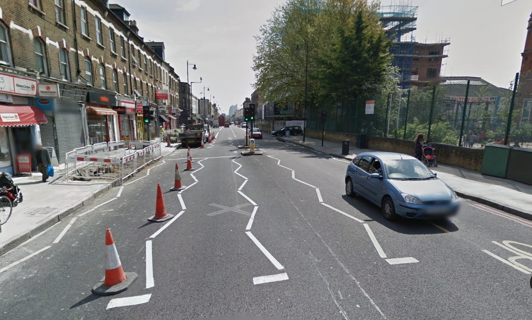 Stoke Newington Road, where Hackney is blocking Cycle Superhighway 1.