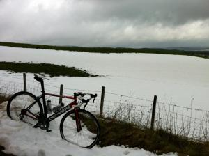 bike in snow ice