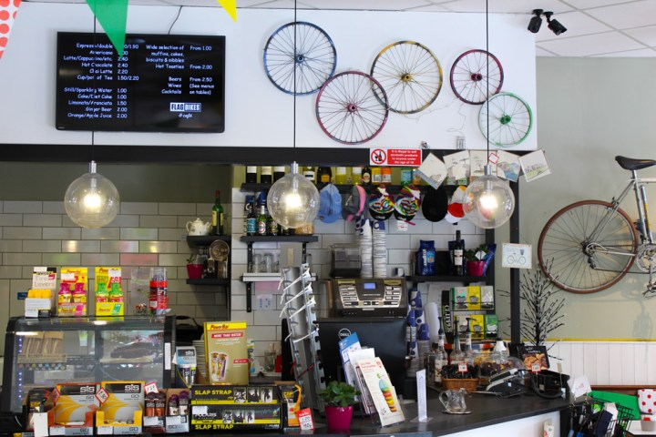 The counter in the flag bikes cycle cafe