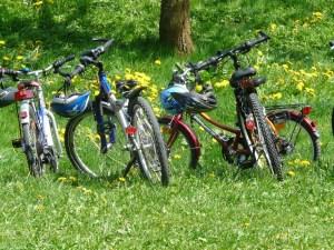 parked bikes on tour