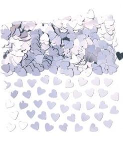 Sparkle Hearts Silver Table Confetti
