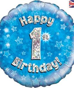 18 inch Happy 1st birthday blue foil balloon