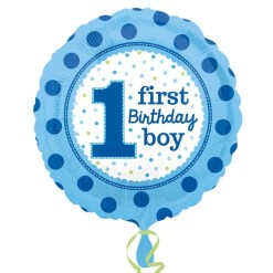 Helium filled 1st birthday boy  Foil Balloon